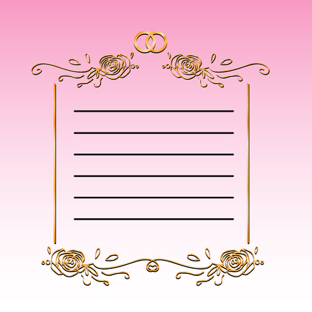 Vintage template of wedding congratulations card vector