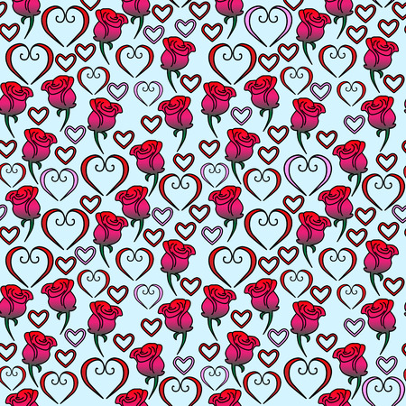 Seamless vector pattern of hearts and roses blue Ilustração
