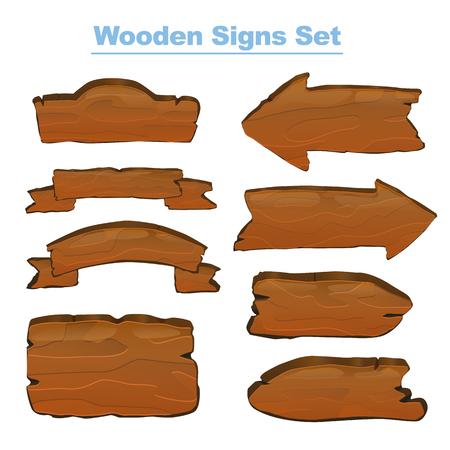 Wooden signs set vector illustration for web and game design Ilustração