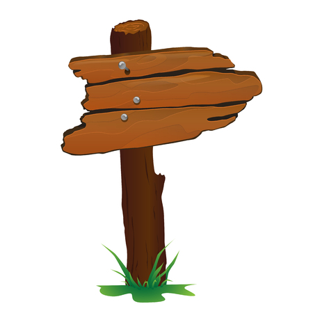 Wooden sign vector illustration for web and game design