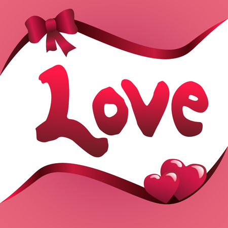 Word love and hearts vector illustration