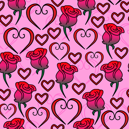 Seamless vector pattern of hearts and roses pink