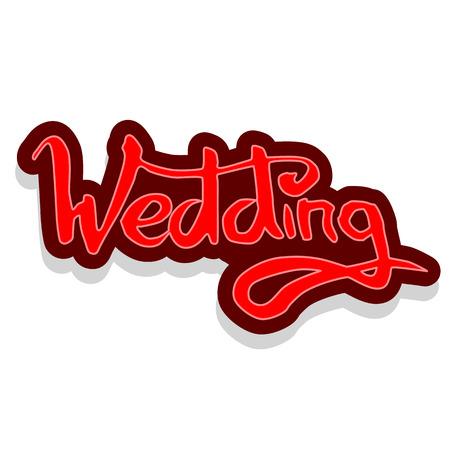 Word Wedding lettering vector illustration