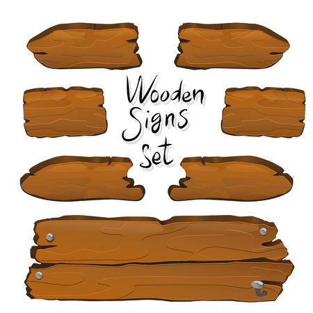 Letreros de madera establecen ilustración vectorial para diseño web y de juegos
