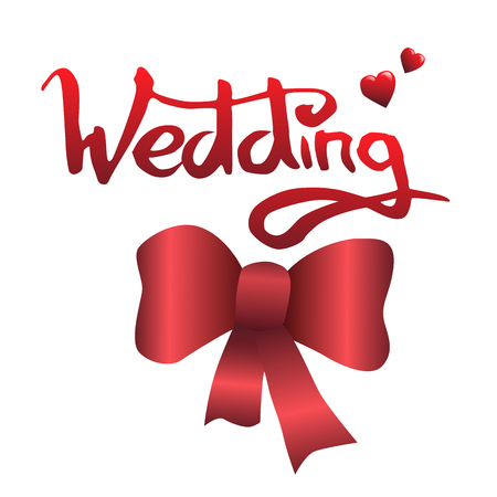 Word Wedding lettering and bow vector illustration