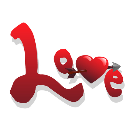Word love and heart vector illustration