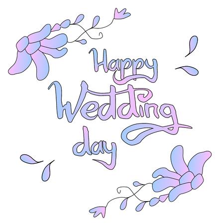 Happy wedding day lettering vector illustration