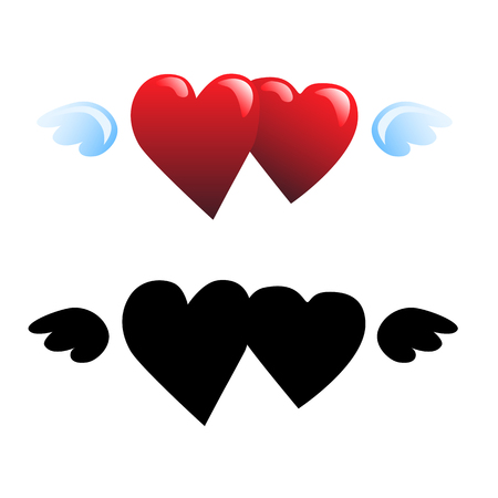 two hearts and wings vector illustration
