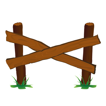 Wooden fence vector illustration for web and game design