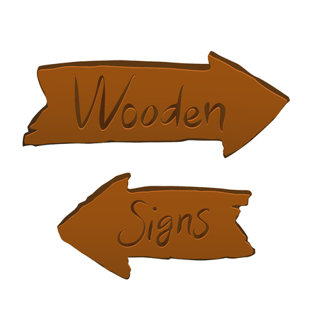 Wooden signs vector illustration for web and game design