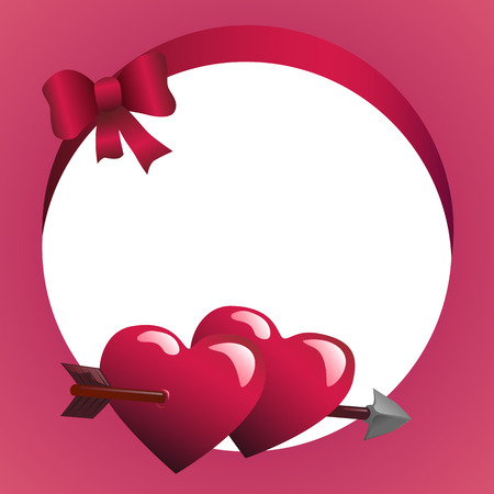 Round frame with ribbon and hearts vector illustration Ilustração