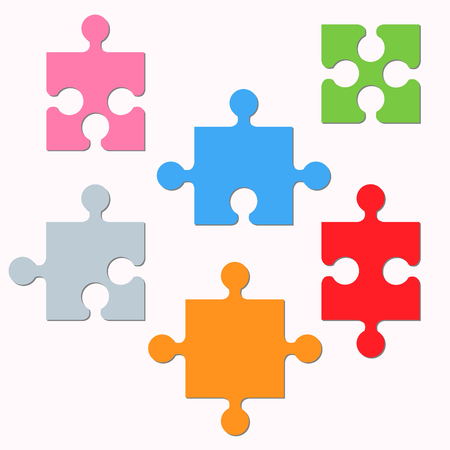 Puzzle fragments set vector illustration Ilustração
