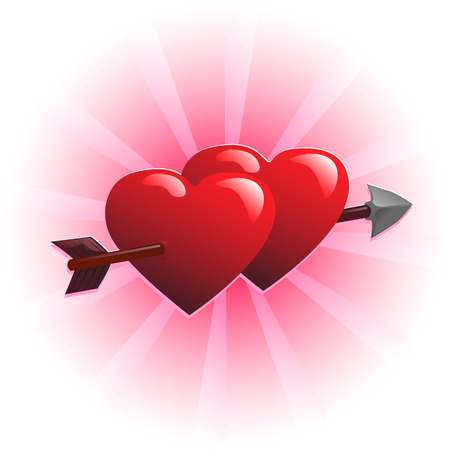 Two hearts and arrow vector illustration Ilustração
