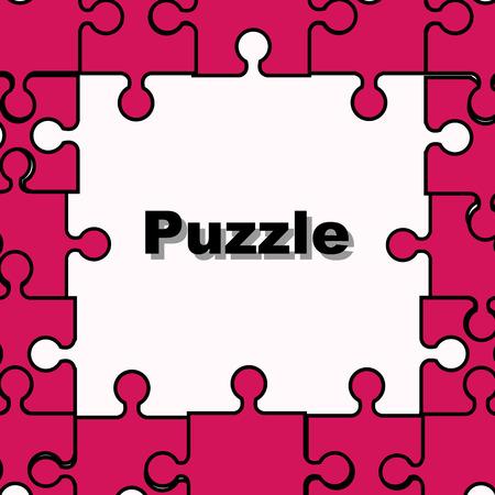 Puzzle frame pink vector illustration Ilustração