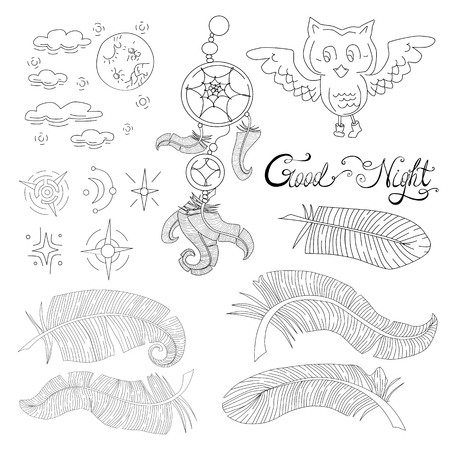 Elements of night and dreams vector set Illustration