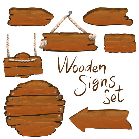 Wooden signs set vector illustration for web and game design 矢量图像