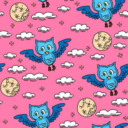 Seamless pattern of owls vector