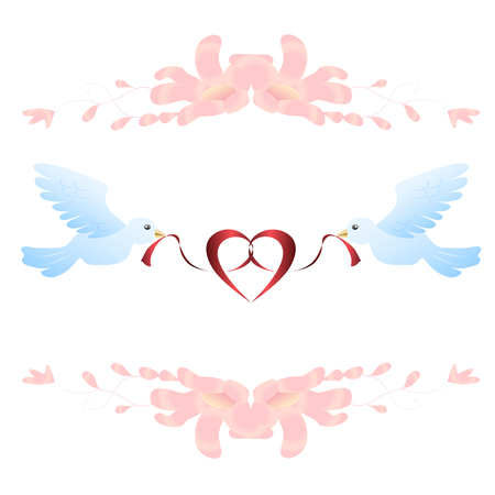 Birds and ribbon. Romantic vector illustration Ilustração