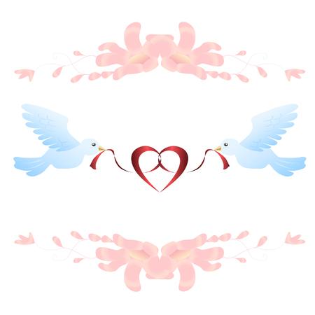 Birds and ribbon. Romantic vector illustration 矢量图像
