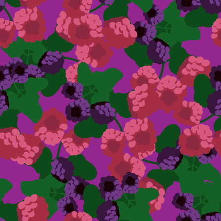 blackberry and raspberry seamless pattern vector illustration