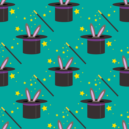 Magic hat seamless pattern vector illustration