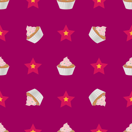 Cupcake nahtlose Muster-Vektor-Illustration Vektorgrafik