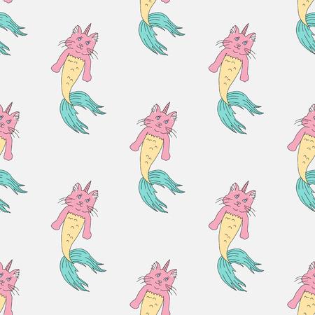 Caticorn mermaid seamless pattern vector illustration Illustration