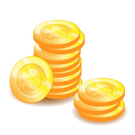 Golden coins stack vector illustration Çizim