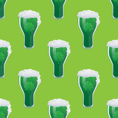 Green beer seamless pattern vector illustration
