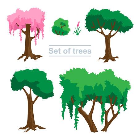 Zestaw zielonych drzew do projektowania stron internetowych Ilustracje wektorowe