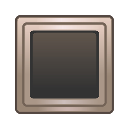 Portrait frame for gui. Bronze frame for mobile game interface isolated on white