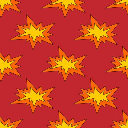 Explosion seamless pattern vector illustration. Bright cartoon background Ilustración de vector