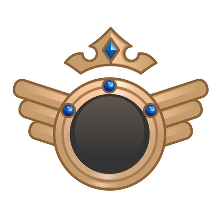 Status portrait frame for mobile games interface. Golden round frame with wings and crown