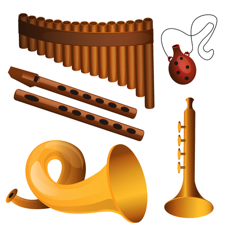 Set of musicak instrument. Woodwind instrument isolated on white background  イラスト・ベクター素材