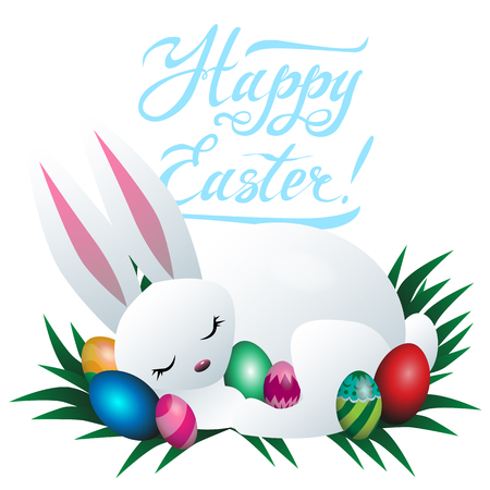 Easter bunny and colored eggs vector illustration Illustration