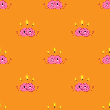 Cartoon brain character isolated vector seamless pattern