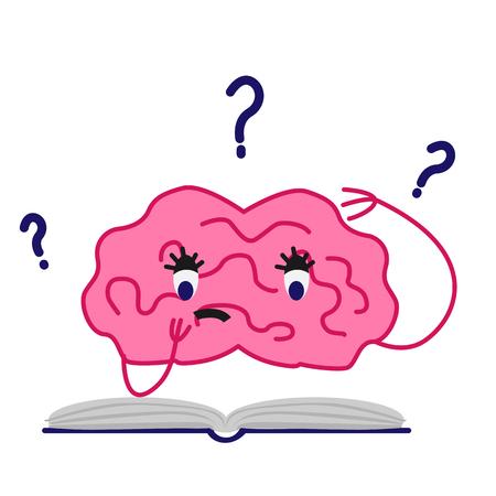 Cartoon brain character isolated vector illustration