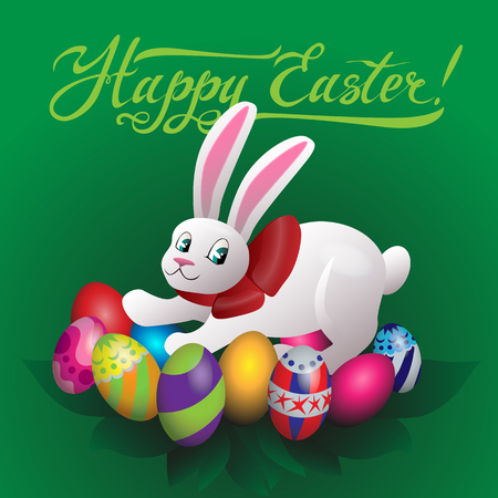 Happy Easter, bunny and colored eggs vector illustration Illustration