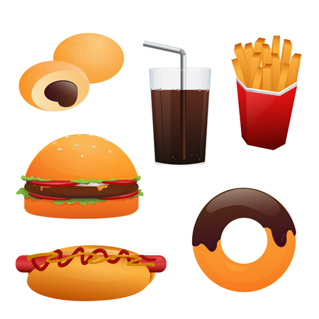 Fast food vector set. Illustration of hotdog, hamburger, fries, desert and cola isolated on white background