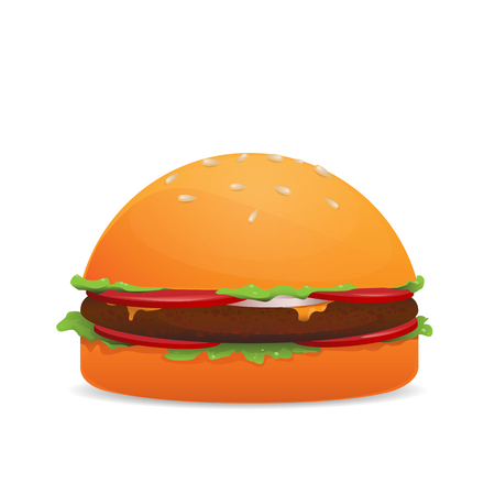 Vector illustration of hamburger isolated on white backgraund Illustration