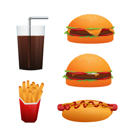 Set of fast food. Hamburger, cheeseburger, beverage, hot dog and potato fry vector isolated on white background Stock Vector - 123853334