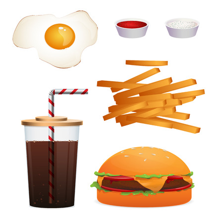 Set of realistic fast food isolated on white for menu or banners