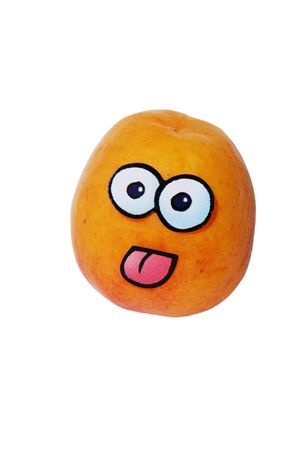 Apricot Litlle Bobby from series funny fruits Stock Photo