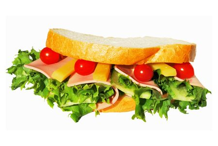 Sandwich with ham and lettuce isolated over white Stock Photo