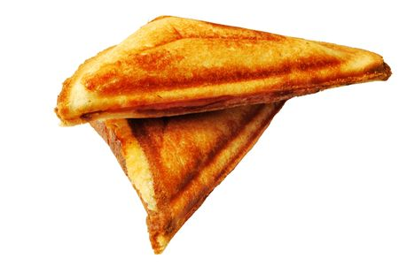Two triangle hot sandwiches isolated on white background