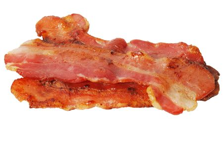 Crisp bacon slices isolated on white backrgound Stock Photo