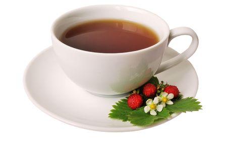Strawberry tea isolated on white background