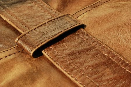 Brown leather (texture, material, background, decoration) Stock Photo