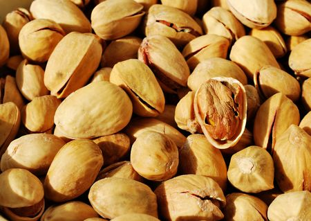 Salted pistachios close up