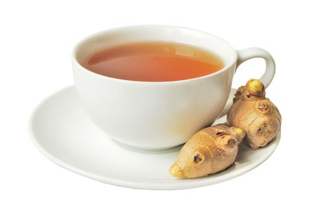 Ginger tea with root isolated on white background